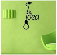 Free Shipping Light Bulb Idea Wall Sticker Kid Room Decor Mural Art Vinyl Wallpaper Home Window Glass Decoration Decal