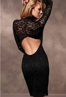 Fashion Long Sleeve Turtleneck Lace Backless Sexy Dress Vestidos Bodycon Women Black Casual Dress Free Shipping
