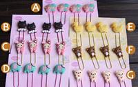 Wholesale Animal Cute Cartoon Rabbit Duck Cat Rilakkuma Bear Metal Paper Clips Bookmark Office Accessories school supplies Gift