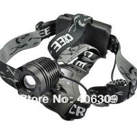 Black Color K12 Dimming Adjustable Cree XM-L T6 800-Lumen 3 Modes LED Headlamp Light (2x18650) Free Shipping