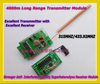 4KM Long Range Transmitter Module 4CH Transmitter + 4CH Receiver Module Strong Anti-Interference Superheterodyne Receiver Module