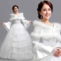 Korea Princess Wedding Dresses Floor Length Full Sleeve Organza Rhinestone Bride Wedding Dress Costumes Lace Formal Dress