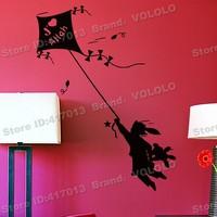 Free shipping wall stickers wall decor PVC vinyl stickers Animal stickers Kite Girl K-163