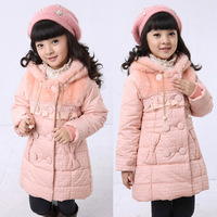 set Children's clothing female winter child new arrival 2013 winter thickening child long outerwear cotton-padded jacket