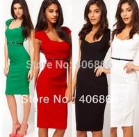 New Cap sleeve Womens Fashion Silm Temperament Sexy OL Pencil Summer Dress 6 colors