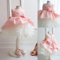 2014 flower girl fluffy wedding dress formal dress pink princess small short skirt pink flower girl dress