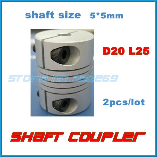 2pcs/lot 5x5mm CNC Motor Jaw Shaft Coupler 5mm To 5mm Flexible Coupling OD 20x25mm(China (Mainland))