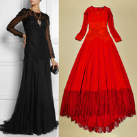 Free shipping 2014 fashion long-sleeved lace applique gauze expansion bottom elegant Floor length maxi banquet one-piece dress