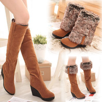 2014 rabbit fur autumn and winter high-leg boots high-heeled wedges snow thickening women boots .