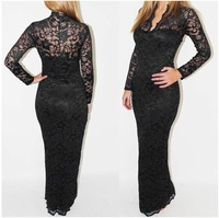 2014 New Arrival Women's V-neck long-sleeved Party dresses sexy hollow Embroidery lace fishtail dress package hip dress
