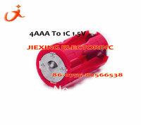 Free Shipping 10pcs/ lot  4 AAA TO 1C 1.5V adapter Battery holder ROSH
