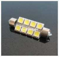 Free Shipping 20pcs Car Festoon 41mm 8 LED SMD 5050 light Car 12v 8SMD LED bulb Wedge dome light auto Light reading light
