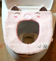 P2 Plush pink smiling pig piggy cartoon toilet cover for toilet seat seat heating mat Free shipping