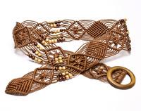 Cold steel bohemia wax cord handmade knitted women's belt female knitted national cronyism trend belt