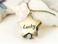 Free-shipping, Vintage Pocket Watch quartz LUCKY STAR shape pendant watch 2pcs/lot