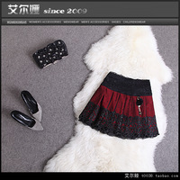 2013 autumn fashion low-waist lace exquisite embroidered beading slim waist double layer fabric skirt a bust