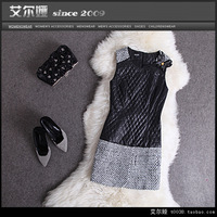 2013 fashion autumn and winter women o-neck fashion wool knitted basic tank dress slim one-piece dress