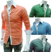 Free shipping Men Casual shirt for Men candy color Slim Long sleeve shirt  Men shirt 4 color Size M-XXL