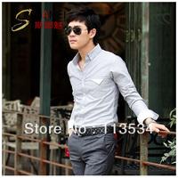 High Quality brief all-match shirt male long-sleeve slim casual shirt male shirt 1pcs free shipping