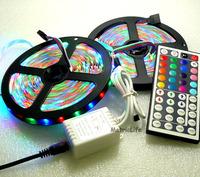 10M 3528 SMD RGB 600LEDs 2x 5M LED Light Strip Lamp & 44 Key IR Remote System