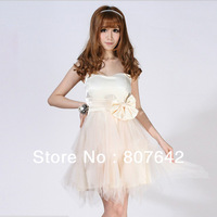 Free shipping Fashion beige pink color sweetheart big bow Women's design Club evening Party Dress