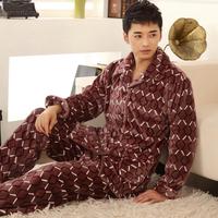 Male winter plaid flannel sleepwear red super soft coral fleece wool lounge set xxxxl