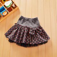 retail 1 pcs Autumn and winter Big Dot New Beautiful Cute Baby Girl Bow A-Line Woolen Skirt Baby Tutu Cake Skirt