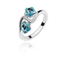 100USD free shipping via DHL! top quality crystal rings Crystal Diamante 18 K Platinum Plated Ring lake blue colour R369-3