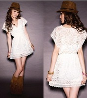 2014 New Arrival Lace Dress Women's Sexy Translucent Deep V-neck Short Sleeve Dress B0172