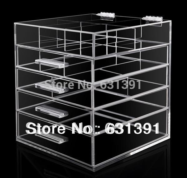 Pacote de segurança de alta qualidade Fashional caixa Maquiagem 5 Gavetas Acrílico organizador de jóias(China (Mainland))