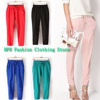 Hot Sale New 2014 Brand Casual Women Pants Solid Color Drawstring Elastic Waist Comfy Full Length Chiffon Harem Pants WF-429