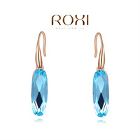 ROXI rose-golden earrings with ellipse blue stone,fashion jewelry,earrings for young women,new arrival,Christmas gift,2020109590