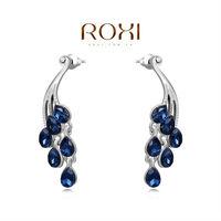 ROXI Christmas Delicate Blue Zircon Earrings Gift Girlfriend Handmade Fashion White Gold Plated Peacock Jacket Earrings