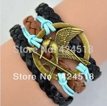 Ретро сплав голодные игра Bird подвески-талисманы браслет винтажный для кожа веревка ручной работы ювелирные изделия