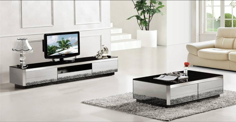 Coffee table tv cabinet 2 piece set modern design gray mirror home furniture grand living room - Modern living room furniture set ...