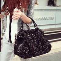 Women's handbag 2014 paillette black big bag fashion one shoulder handbag cross-body women's bags  women messenger bags