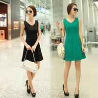 Korean slim sleeveness Tank Top dress summer watermelon red chiffion dress women soild brief natural womens clothes