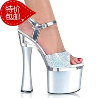 free shippingTiangao queen ultra high heels thick heel sandals female crystal platform high-heeled shoes sexy