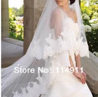Wholesale fashion new 2 layer of white gauze lace applique sequins bride wedding custom 3 m veil accessories