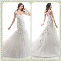 Exquisite Appliques Sweep Train One Shoulder Mermaid Wedding Dresses Organza