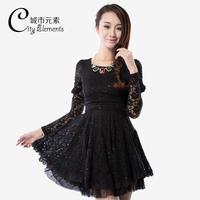 2013 autumn women's slim long-sleeve organza princess dress elegant bow lace one-piece dress