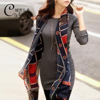 2013 autumn women's top medium-long women's slim long-sleeve T-shirt 100% cotton o-neck basic shirt