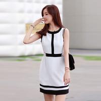 2013 summer women's fashion ol formal chiffon patchwork basic slim one-piece dress