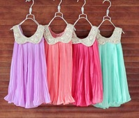 2013 Summer Girls Pleated Chiffon One-Piece Dress With Paillette Collar Children Colthes For Kids Baby