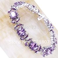 Wholesale Trendy  Oval Cut Purple Amethyst  Silver Bracelets Fashion Stone Jewelry For Women Free Shipping
