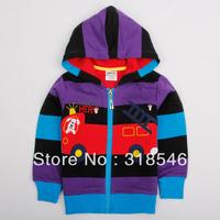 Free shipping 5pcs/lot children clothing kids 100% cotton  jacket boy girls stripe cartoon outerwear, kids outfit