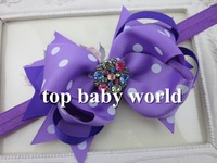 "MOQ 1pcs 5"" Grosgrain ribbon purple  with white  Polka dot  crystal buttons bows headband kids accessories  baby headband"