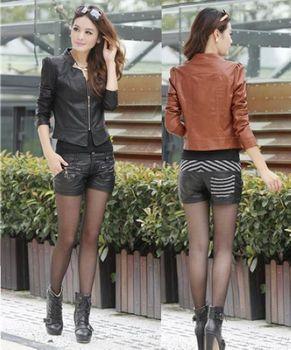 2014 Женщины's Модный slim Simple Leather jacket coat  S923