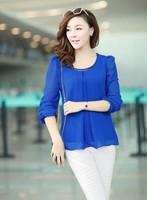 Hot Sale 2014 New Fashion Hot Sale Plus Size Casual Long Sleeve Chiffon Blouse Shirts For Women Size S M L XL XXL XXXL XXXXL