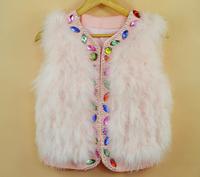 REAL Ostrich Feather Vest Jacket, Fashion Women Rhinestones Decoration Outerwear Ostrich Fur Vest